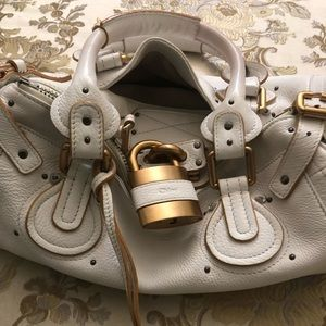 Chloe Paddington in White with gold lock/accents